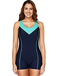 CharmLeaks Womens One Piece Swimsuit Boyleg Swimwear Sports Boy Short Athletic Swimming Costume