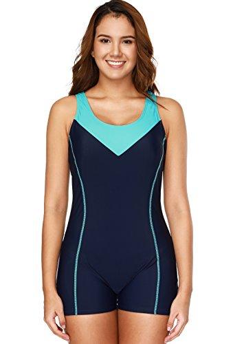 CharmLeaks Damen Einteiler Sport Badeanzug mit Bein Hotpants Kontrast Rückenfrei Bademode Sport Swimsuit Nachtblau L (Lange Badeanzug Damen)