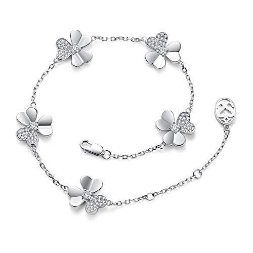 Sismiurra braccialetto donna fiore argento 3a zirconi cristallo regalo per le donne mamma di compleanno anniversario braccialetti gioielli donna natale san valentino