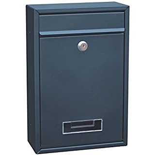 Highlands Arboria Galvanised Square Postbox - Metal Mail Letter Box- GREY COLOUR