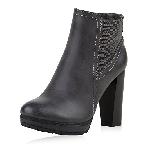 Damen Ankle Boots Plateau Stiefeletten Zipper Holzoptikabsatz Dunkelgrau
