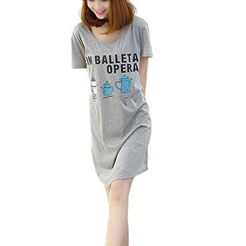 Cotton Sleepshirt, Printed Love Short Sleeve Cotton Nightgown Sleeping Dress