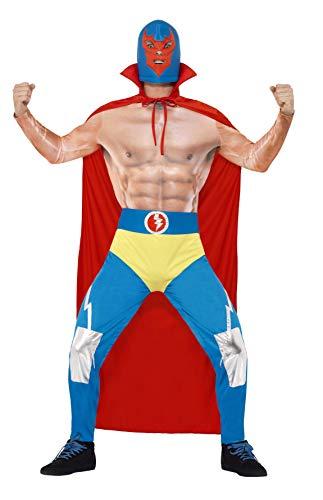 Für Kostüm Wrestler Erwachsene - Smiffy's 43667L - Mexican Wrestler-Kostüm mit Cape Leggings angebaute Hosen und Maske