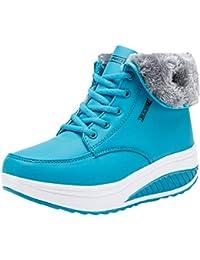 Zapatos Zapatillas Running para Mujer Sneakers Fitness, Mujeres Ocio Plus Terciopelo Inferior Deporte Cuñas De Zapato De Fondo Grueso Damas Zapatillas