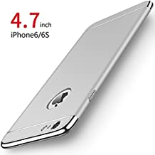 Funda iPhone 6/6s, PRO-ELEC Carcasa iPhone 6 / 6s con [ Protector de Pantalla de Vidrio Templado ] 3 en 1 Desmontable Ultra-Delgado Anti-Arañazos iPhone 6 Funda Protectora - 4.7 pulgada - Plata