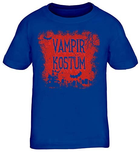 Halloween Fasching Karneval Gruppen Kinder T-Shirt Rundhals Mädchen Jungen Vampir Kostüm, Größe: 110/116,royal - Royal Vampir Kind Kostüm