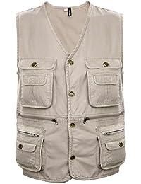 Zicac Herren Atmungsaktive Baumwolle Multi-Tasche Anglerjacke Lässige Weste Jacken Fotografie