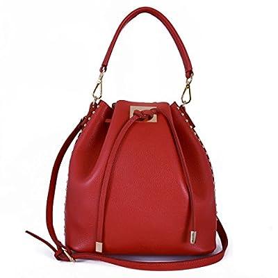 Bolso Cubo En Piel Verdadera Con Cierre De Cordón Color Rojo - Peleteria Echa En Italia - Bolso Mujer