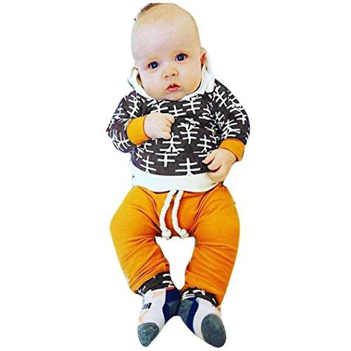 Culater® stampa neonato manica lunga T-shirt top + pantaloni Abiti Set con cappuccio (80)