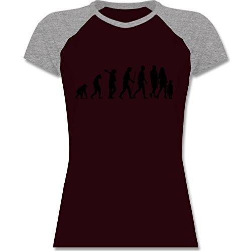 Evolution - Familie Evolution - zweifarbiges Baseballshirt / Raglan T-Shirt für Damen Burgundrot/Grau meliert