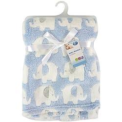"""""""First Steps"""" - Manta de vellón luxury para bebé con bonito diseño de elefantes 75 x 100cm de Newborn"""