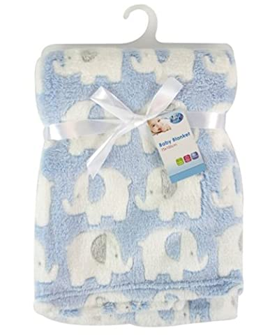 """First Steps"" Luxury Soft Fleece Baby Blanket in Cute Elephant Design 75 x 100cm for Babies from Newborn"