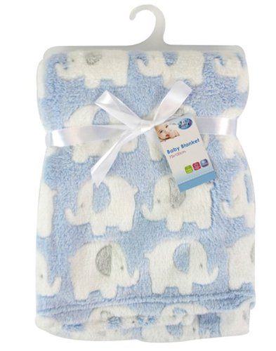 First Steps ``First Steps`` Luxury Soft Fleece Baby Blanket in Cute Elephant Design 75 x 100cm for Babies from Newborn