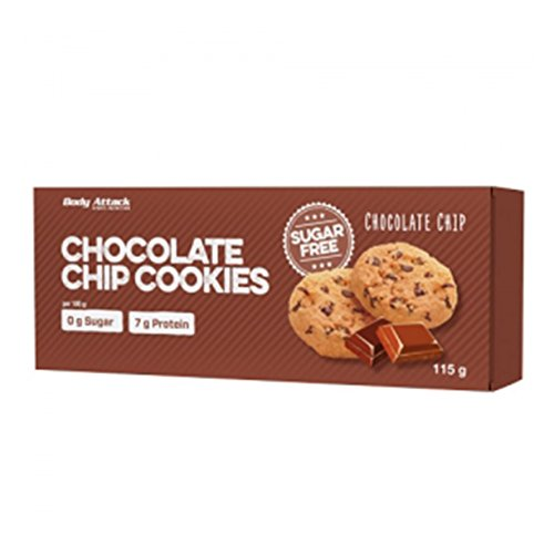 Body Attack Low Sugar Cookies 115g - Chocolate Chip - Diätkekse - Low Carb - Carb Protein Keks