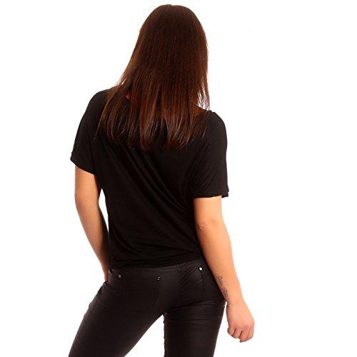 Young-Fashion - T-shirt de sport - Avec nœud - Uni - Manches Courtes - Femme Noir