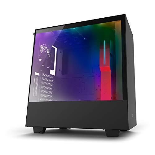 NZXTH500i - Kompaktes ATX-Mid-Tower-Gehäuse für Gaming-PCs - RGB-Beleuchtung und Lüftersteuerung - SmartDevice mit CAM-Unterstützung - Tempered Glass Fenster - Kabelmanagementsystem - Schwarz/Rot Pc-cam
