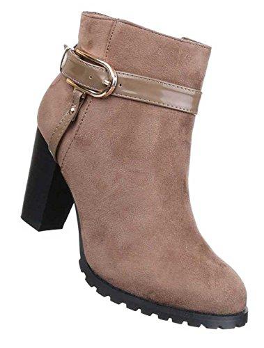 Damen Stiefeletten Schuhe Boots Designer Mit Deko Schnalle Schwarz Hellbraun