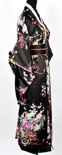Japanisch Kimono Robe Yukata Schlafanzug Schwarz - 2