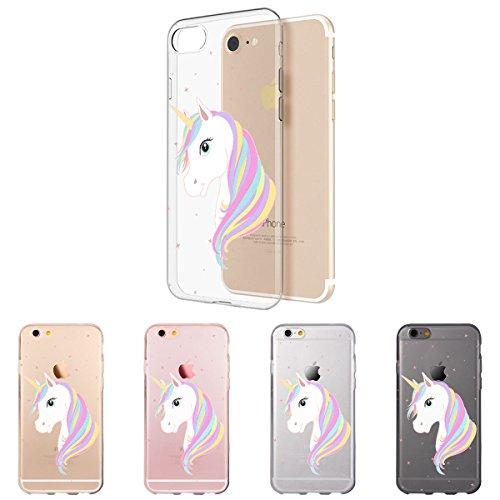 OOH!COLOR® Design Case für iPhone 7 mit Motiv MPA147 weiß Punkte modisch stilvoll Silikon Hülle elastisch Schutzhülle Transparent Case Luxus Cover Slim Etui OKI008 Einhorn
