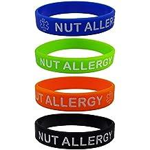 Pulseras de silicona con texto «NUT ALLERGY», 4 unidades, tamaño infantil,