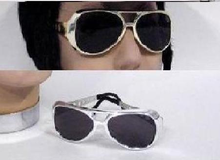 Elvis Silber Brille (Sonnenbrille Superstar in silber Brille Kostüm)
