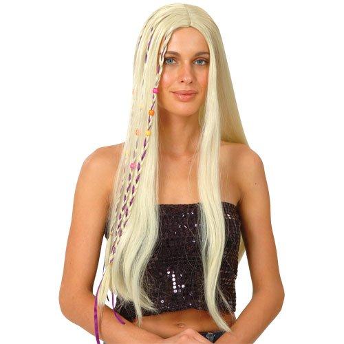 Stylische 60er Blonde Hippie Perücke Karneval / Halloween Kostüm Accessoire (Kostüme Ideen Halloween Band)