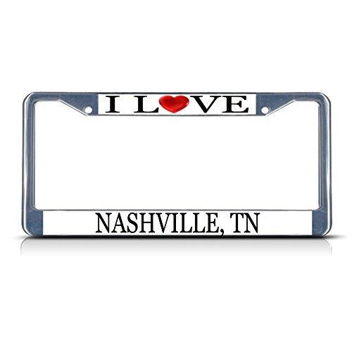 Nummernschild Rahmen I LOVE Herz Nashville TN Aluminium Metall Nummernschild Rahmen