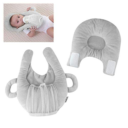 tional Detachable Baby Feeding Pillow, Self-Feeding Support Multifunctional Baby Nursing Pillow and Positioner Anti Roll Protective Flat Foam Pillows - Mommy Good Helper (Gray) ()