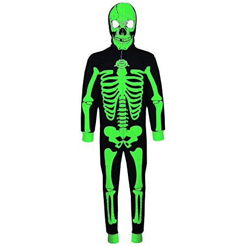 A2Z 4 Kinder Kinder Mädchen Jungen Designer Skelett Aufdruck A2Z Einteiler ein Teil Alles in eins Einteiler Halloween Kostüm Alter 5 6 7 8 9 10 11 12 13 Jahre - schwarz & Neon Grün, 13 years
