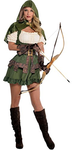 erdbeerloft - Damen Robin Hood Räuberin Komplett Kostüm Kleid , Grün, Größe ()