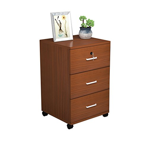 Bedside table JUN Einfaches Holz Office File Cabinet Locker mit Verschluss 3 Schubladen Nachttisch Möbel Schrank (Color : Teak) -