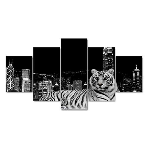 Decoración para el hogar Paneles modulares de Arte fotográfico 5 Paneles Tiger Building Landscape Sala de Estar HD Lona Impresa Moderna