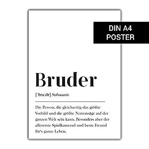 Bruder Definition, DIN A4 Poster Geschenk für Bruder, Geburtstagsgeschenk Plakat Wörterbuch, Skandinavisch Geschenk Geburt