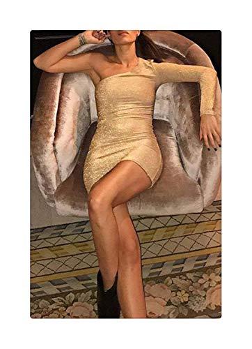 RORIESD& Summer Women Sexy Mini Dresses 2019 New Women Summer Sexy Single Long Sleeve Irregular Collar High Waist Mini Dress M