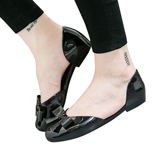 Hot Sale!Sandalen Damen, Sonnena Frauen Mode Frauen Schleife runde Kappe Kristall Schuhe Casual Schuhe Sandalen PVC / fest / Sommer / Knöchel / Schmetterling-Knoten / Freizeit / Gummi (Sexy Schwarz, EU:40) (Leder-gummi-sohle-kappe)