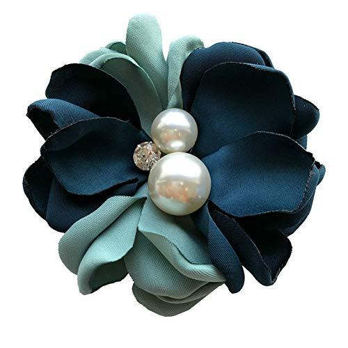 Nowbetter Damen-Brosche Kamelie Blume Braut Kleid Boutonniere Perlen Hals Krawatte Brosche Anstecknadel Hochzeit Party Decor, grün, 8.5cm-9cm