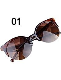 d29d556c9716d LIN Liquidation Lunettes de Soleil Vintage Cat Eye Lunettes de Soleil  Rondes Semi-jantes Hommes Femmes Mode…
