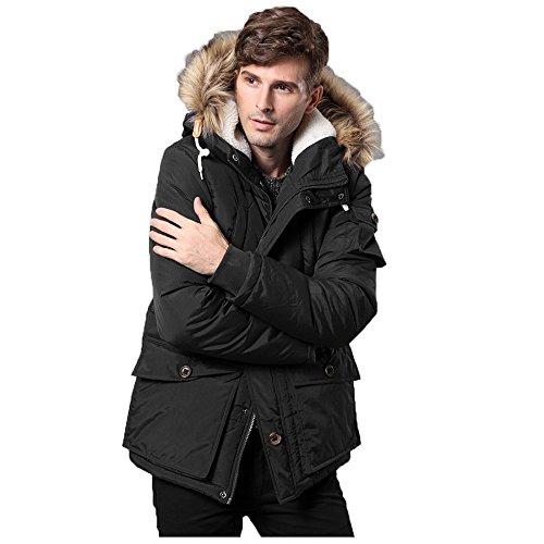 CRAVOG Mantel Herren Parka Jacke Outwear Oberbekleidung Warm Wintermantel Winterparka Winterjacke Steppjacke mit Kaputze Schwarz