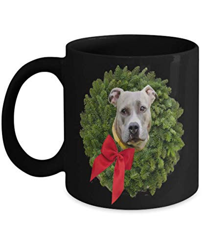 Fawn Colored Pitbull in Christmas Wreath with Red Bow Coffee Mugs, Xmas Gift for Kids, Husband, Wife, Grandma, Grandpa, Dad, Mom, Sister, Brother, Son -
