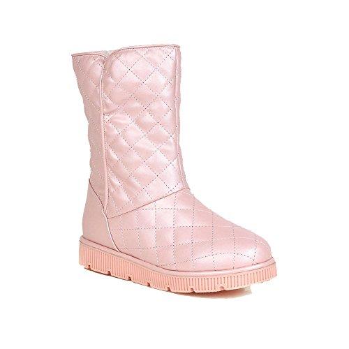 AalarDom Damen Weiches Material Ziehen Auf Niedriger Absatz Niedrig-Spitze Schneestiefel Pink