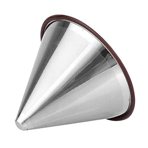 Filtro de café sin papel de acero inoxidable, filtro de café de goteo reutilizable SourceTon, filtro de café de doble malla compatible con Chemex, Hario V60 y otros filtros para cafeteras