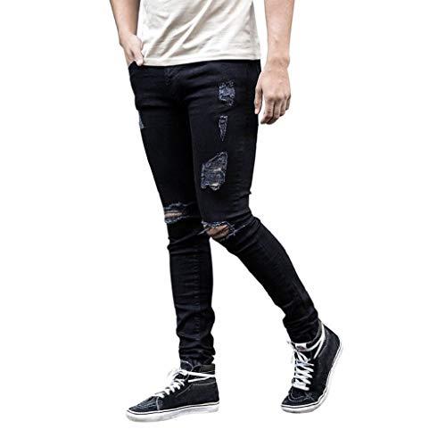 Luckycat Herren Hose Jeans Destroyed Löchern Jeanshosen Used Slim Fit Skinny Stretch Freizeithose Denim Stretch-kick Flare Jeans
