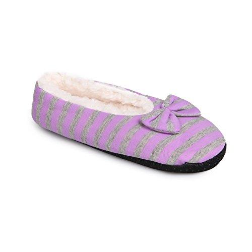 La Modeuse basso-Pantofole da donna con ripieno e in tessuto rigato, dotato di un simpatico, motivo: papillon, Viola (viola), 35-38