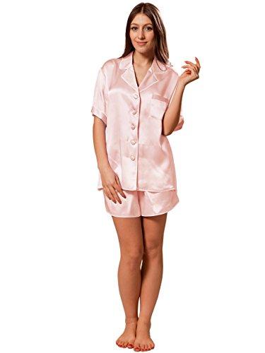 ELLESILK 100% Natur-Seide Zweiteilig Schlafanzug Damen, 22MM Maulbeerseide Pyjama Hellrosa/Weiß