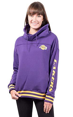 NBA Los Angeles Lakers Women's Fleece Hoodie Pullover Sweatshirt Funnel Neck, Large, Purple - Los Angeles Lakers Team Fleece