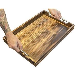 Genussfabrik - Das robuste Tablett aus Holz - Hochwertiges Serviertablett mit Edelstahlgriffen für Geschirr I Getränke I Frühstückstablett I Serviertablett I Deko Tablett