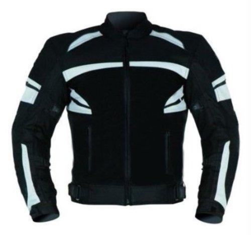Bikers-Gear-UK-Giacca-Sport-VECTOR-in-cordura-con-protezione-CE-nero-e-Bianco-Taglia-3XL