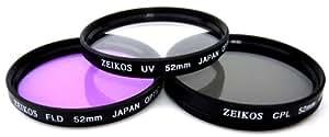 Zeikos 52mm Filter-Set mit UV-, PL-, FLD-Glaslinsen, ZE-FLK52 inklusive Aufbewahrungstasche, z.B. für 1D Mark IV, 5D Mark, 7D, 50D, 60D, 450D, 500D, 550D, 1000D; Sony Alpha A200, A230, A290, A300, A330, A350, A380, A390, A450, A500, A550, A560, A580, A850, A900; DSC-H10, DSC-H50; Nikon D3, D60, D90, D300s, D400, D700, D3000, D3100, D5000, D7000; Olympus E-5, E-30, E-430, E-450, E-520, E-620; Pentax K10D GP, K20D, K200D, K-m, K-r, K-5, K-7, K-x; Fuji HS10, S100FS, S9100; Samsung GX-20, GX-30, ...