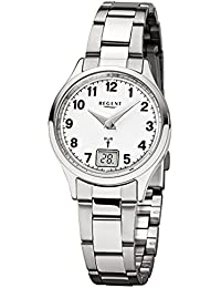 a7d17e5e8e Regent Damen-Armbanduhr Elegant Analog-Digital Edelstahl-Armband silber  Funkuhr-Uhr Ziffernblatt weiß…