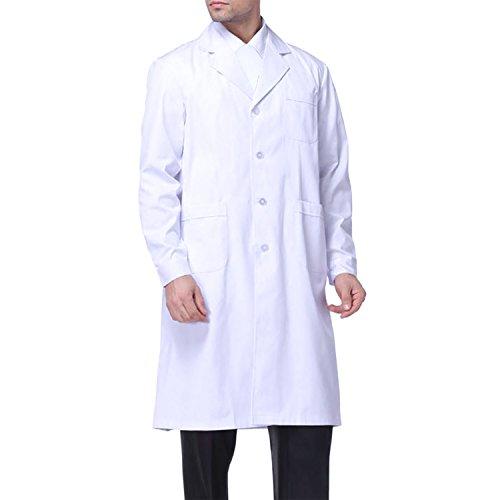 Sasairy Unisex Laborkittel Weiß Mantel Arztkleidung Versuchsmantel Visitenmantel lange Ärmel Krankenschwester Kleidung Mantel mit Reverskragen und Tasche Größe S-3XL für Männer / Frauen (Ausgestattet Damen-kittel)